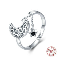 Nova alta qualidade luxuoso CZ gemstones lua e estrela anel ajustável 925 esterlina prata romântica preto diamante anel jóias frete grátis