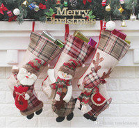 New Christmas Stockings Snowman Elk Santa Claus Sock Xmas Tr...