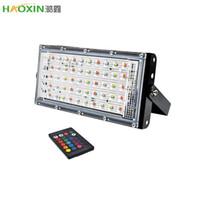 Spotlight Haoxin LED Projector ao ar livre 10W 50W Wall Washer Lâmpada refletor IP65 Waterproof Iluminação Jardim RGB Flood Luz AC 220V 240V