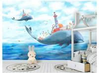 Papel de parede Fotomural fotográfico 3D personalizado papel de pared City Fantasy Sky City Dormitorio para niños Sofá de fondo Pegatina de pared en Whale Back