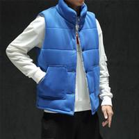 Kış Yeni Pamuk Yelek Erkek Sıcak Kalın Moda Katı Renk Casual Standı Yaka Yelek Man Streetwear Vahşi Gilet Büyük Beden M-5XL