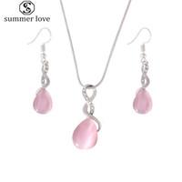 Nieuwe aankomst roze opaal waterdrop hanger ketting oorbel set voor vrouwen elegante oneindige charme verklaring sieraden set 2019