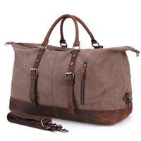 Wholesale oversized handbags for sale - 2 Size Oversized Wearproof Canvas  Leather Travel Duffle Bags Large 54540989275b3