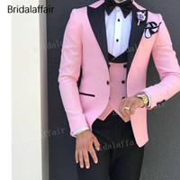 Bridalaffair Tailored Made Pink Fashion Men Suits for Weddin...