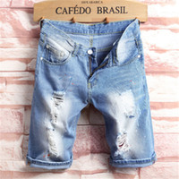 Neue Art und Weise Freizeit Herren Ripped kurze Jeans-Marken-Kleidung Sommer Shorts Loch Breath Zerreißen Denim Shorts Jean Male Hose