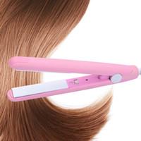 High Quality Mini Hair straightener Iron Pink Ceramic Straightening Corrugated Curling Iron Styling Tools Hair Curler EU Plug