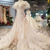Lace Applique A Line Wedding Dress O Neck Short Sleeve Small...