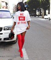 المرأة الصيف تي شيرت اللباس مصغرة التنانير مصمم بلون رسائل فاخرة مطبوعة قصيرة الأكمام فضفاض فساتين مثير ليلة نادي اللباس D6504