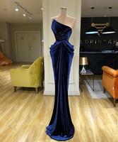 Árabe Azul Marinha Strapless Mermaid Prom Dress Sexy Velvet Bainha Vestido de Noite Longa Formal vestido de festa da dama de honra