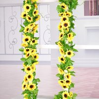 Fiore artificiale di girasole per Wedding la decorazione artificiali Vines Hanging Garland Home Decor Silk Flower 2.4M