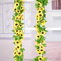 زهرة عباد الشمس الاصطناعية لمناسبات الزفاف فاينز الاصطناعي شنقا جارلاند ديكور المنزل الحرير زهرة 2.4M
