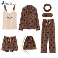 JRMISSLI 7pcs set Pajamas Set del cotone delle signore Sweet Home Cappotti Donne Pigiameria Set Casa indossare indumenti Stampa Dot Pajama imposta T200110
