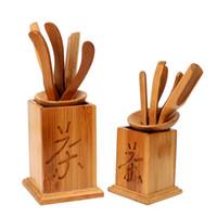 7 peça / set Handmade Kung Fu Tea Sets Ferramentas Faca Puer Vintage colher de chá Tea Set Cerimônia Utensílios bambu chinês Clipe Filtro