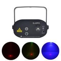 AUCD Mini 48 Rouge Vert RG Gobos Projecteur à Effet Laser À Distance 3W Bleu LED Lumière De Mariage DJ Spectacle De Fête À La Maison Éclairage de Scène SL48RG