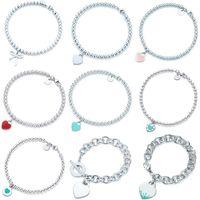 100% 925 Ayar Gümüş Orijinal TIFF Kalp Kolye Bilezik Bilezik Takı Noble Charm Marka Logo Tasarım Kadınlar Logo High-end Jewelr