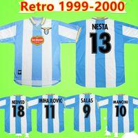 # 13 NESTA 1999 2000 Retro Lazio Soccer Jerseys 10 Crespo 9 Salas 11 Mihajlovic 21 inzaghi # 18 Nedved Classic Vintage Vintage Camisas Italia