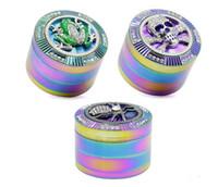 Novo Metal Moedor De Tabaco Fumar Herb Grinder 63 MM 4 Camadas Iceblue Rainbow Color Aranha Crânio Forma de Sapo Herb Grinder Triturador de Fumaça ST190