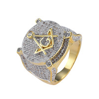 Copper mirco pave CZ stone Hip Hop Freemason Ring All Iced O...