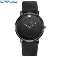 Top-Marke CRRJU heißen Verkaufs-Männer Uhr-ultra dünne wasserdichte Schwimmen Sport Wach Männer echtes Leder-Bügel beiläufige Quarz-Uhr