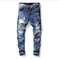 Mens Denim Jeans Biker modo caldo lavato ricamo Distintivo dritti jeans di modo di grande Trasporto libero