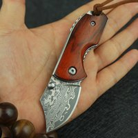 Outdoor survival folding knife Damascus steel knife camping ...
