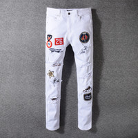 Men's Distressed Destroyed Badge Pants Art Patches Skinny Biker White Jeans Slim Trousers Size 29-42