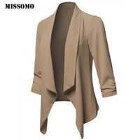 MISSOMO Womens Solid Open Front Cardigan Irregular Suit Jack...