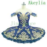 Azul oscuro oro profesional ballet tutu niñas azul marina azul muñeca paquita variación peinformance plato tutu tutu traje clásico