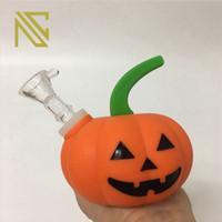 Kleiner Rauchpfeife Kürbis kreativer Form-Zigaretten-Halter bewegliches Silikon-Rohr für trockene Kräuter Rauch Shisha Tabak Löffelstiel Pipes Bowl