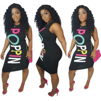 Nova Moda de Verão Mulheres Vestidos Carta Poppin Sem Mangas Bodycon Vestido para Mulheres Sexy Night Club Carta Mulheres Impressão Mini Midi Vestido XXL