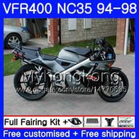 Grå Svart Hot Kit för Honda RVF400R V4 VFR400R 1994 1995 1996 1997 1998 270HM.26 VFR400 RVF VFR 400 R NC35 VFR 400R 94 9596 97 98 FAIRING