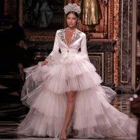 Vintage Boncuklu Yüksek Düşük Gelinlik Derin V Yaka payetli Uzun Kollu Gelinlik Katmanlı Tül Dubai Düğün elbise de mariée