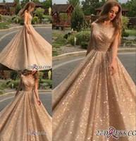 Новые Gold Sequins Prom Вечернее платье Sparkly Forman Party Ball Change Длинные Quinceanera Платья на заказ BC0562
