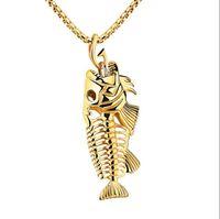 Encantos Fish Bone Gancho De Pesca Colares Pingente Shellhard Aço Inoxidável Oco Esqueleto de Osso Colar de Moda Jóias Por Atacado presente