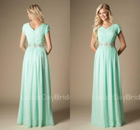 Vestidos de damas de honor verde de la menta 2020 modesto A-Line Chiffon Country Formal Bohemian Country Maid of Honor Vestido Boda vestido de invitado