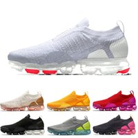 Nike Air Max Vapormax FLYKNIT Moc 2 Baskets sans lacets Chaussures de course pour hommes femmes White Light Cream Sail University Gold Red Trainers Sneakers