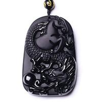 Joyería fina hecha a mano tallada obsidiana Lucky Wealthy Dragon Horse colgante collar envío gratis