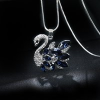 Sweater Chain Pendants Necklaces Quality Shine Jewelry Austrian Crystal Fashion Swan Star Lucky Flowers Fox Dancing Girl Necklace free DHL