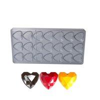 Polycarbonat-Schokoladen-Form-Herz-Diamant-Muster-Süßwaren Backblech 21 Cavity Süßigkeit Dekorieren Formwerkzeuge