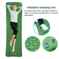 Outdoor Camping Travel Nylon Inflatable Sleeping Mat Folding Bed With Pillow Beach Hiking Pump Portable Backpacking Waterproof