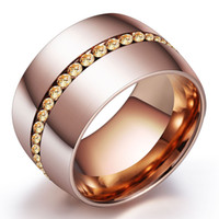 Classic 14mm Wide Steel Rings For Women Rose Gold Stainless ...