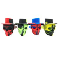 DHL Skull silicone Smoking Pipe pipe avec couvercle Voyage tuyau silicone personnalité pipes à tabac portable avec Couvercles pour Halloween cadeau