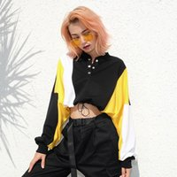 Punk Hoodies Kpop Sweatshirts Hip-Hop Damenbekleidung Herbst 2019 New Spliced ​​Sanitär T-Shirt Batman Sleeve Top