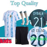 2020 الطفل الأرجنتين Soccer Jersey 2021 Kids Kits 20 21 ميسي Dybala Maradona Aguero Di Maria Higuain Football Shirts