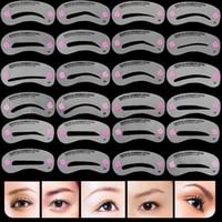 24 Pcs Sobrancelha Stencil Set Reutilizável Sobrancelha Guia de Desenho DIY Styling Shaping Grooming Template Cartão Fácil Maquiagem Beleza Kit