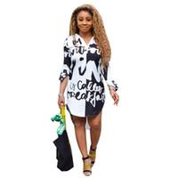 İlkbahar Sonbahar Kadın Tasarımcı Gömlek Elbise Harf Baskılı Yaka Yaka Uzun Kollu Düzensiz Elbise Moda Kadın Giyim