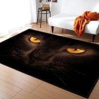 3D Black Cat Eyes Eingangstürmatte Teppich Tiere Gedruckt Bodenteppiche für Wohnzimmer Schlafzimmer Bereich Teppich Badezimmer Küche Rutschfeste Matte