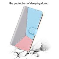 Casse à portefeuille en cuir hybride de couleur de contraste pour iPhone 13 PRO Max Mini Moto G50 G30 G20 G10 Samsung A03S A22 4G 5G A82 HIT Titulaire de la carte Slot Flip Cover Stand Poche d'entreprise