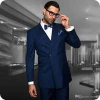 Latest Coat Pants Designs Navy Blue Groom Tuxedo Men Suits for Wedding Groomsmen Jacket Double Breasted Costume Homme 2Piece Terno Masculino