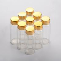 27 * 70mm 24pcs 25ml Glasflaschen Aluminium Schraube Golden Cap Leer Transparent klare Flüssigkeit Geschenk Container, der Flasche wünscht Gläser
